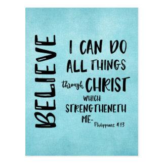 Alle Sachen durch Christus-Bibel-Vers Postkarte