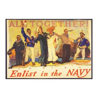 Alle zusammen! Tragen Sie im Marine-Weltkrieg 1 19 Leinwand Druck
