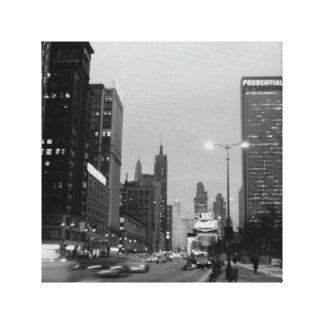 Alleen-@ Nacht Chicagos Michigan am 6. März 1967 Leinwanddruck
