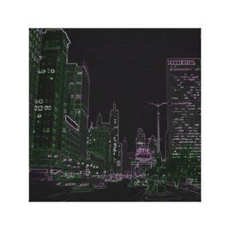 Alleen-Neonnachtglühen-Foto 1967 Chicagos Michigan Leinwanddruck