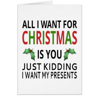 Aller, den ich für Weihnachten will, ist Sie Karte