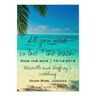 Aller, den Sie benötigen, ist Liebe u. der Strand 12,7 X 17,8 Cm Einladungskarte