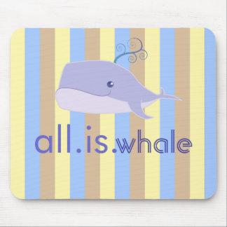 Aller ist Wal (Blau, Ozean-Streifen) Mousepad