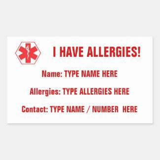 Allergie-wachsamer roter Aufkleber-Aufkleber Rechteckiger Aufkleber