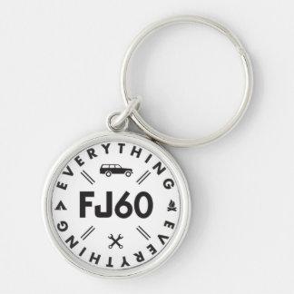 Alles FJ60 Logo Keychain Silberfarbener Runder Schlüsselanhänger