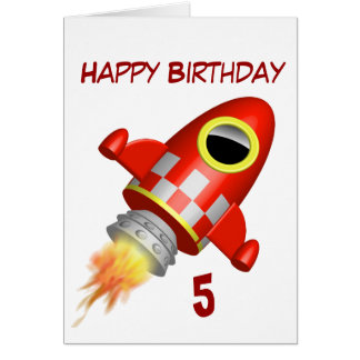Alles- Gute zum Geburtstag5. kleines Rocket-Thema Karte