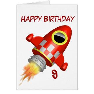 Alles- Gute zum Geburtstag9. kleines Rocket-Thema Karte