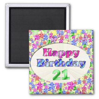 Alles Gute zum Geburtstag 21 Quadratischer Magnet