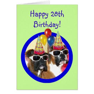 Alles Gute zum Geburtstag 28. Boxer-Hunde Karte
