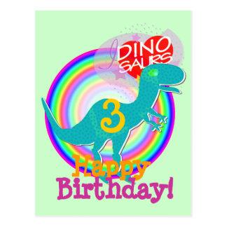 Alles Gute zum Geburtstag 3 Jahre blaue Dino T-Rex Postkarte
