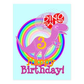 Alles Gute zum Geburtstag 3 Jahre lila T-Rex Dino Postkarte