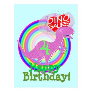 Alles Gute zum Geburtstag 4 Jahre lila T-Rex Dino Postkarte