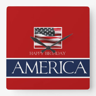 Alles Gute zum Geburtstag Amerika! Quadratische Wanduhr