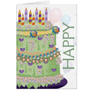 """""""Alles- Gute zum Geburtstag"""" Kuchen u. Ballone - Grußkarte"""