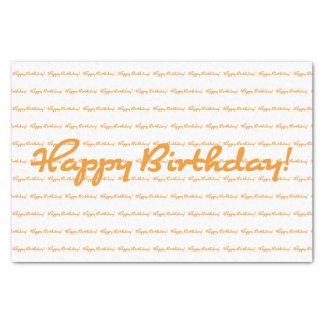 Alles Gute zum Geburtstag! Orange lässiges Skript Seidenpapier