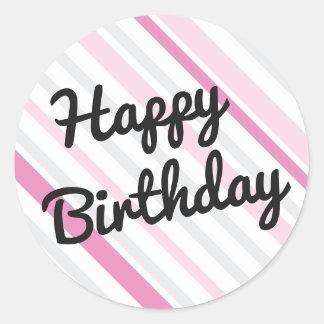 Alles Gute zum Geburtstag ROSA gestreiftes Runder Aufkleber