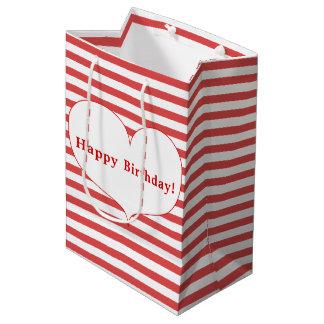 Alles Gute zum Geburtstag! | Rot-Streifen u. Mittlere Geschenktüte