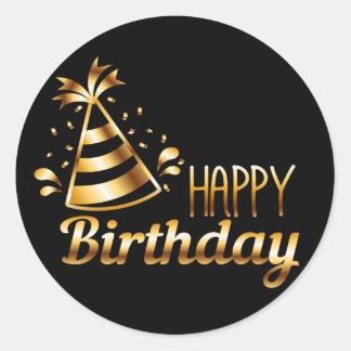 Alles Gute zum Geburtstag - Schwarzes u. Gold 3 S Runder Aufkleber