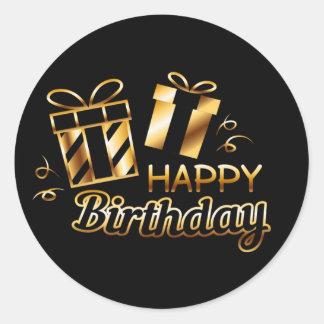 Alles Gute zum Geburtstag - Schwarzes u. Gold 4 S Runder Aufkleber
