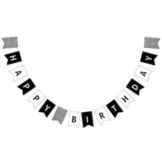 Alles Gute zum Geburtstag Schwarzweiss Wimpelketten