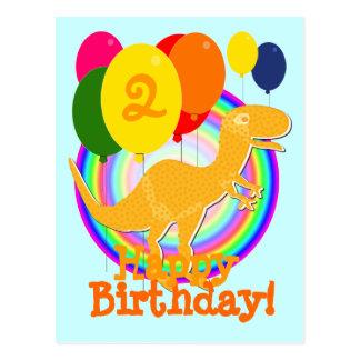 Alles Gute zum Geburtstag steigt 2 Orange T-Rex Postkarte