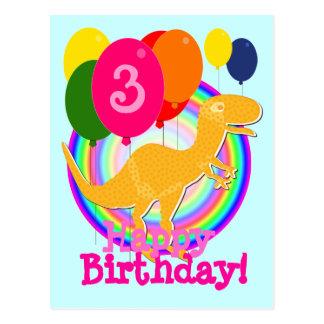 Alles Gute zum Geburtstag steigt 3 Orange T-Rex Postkarte