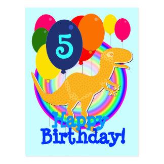 Alles Gute zum Geburtstag steigt 5 Orange T-Rex Postkarte