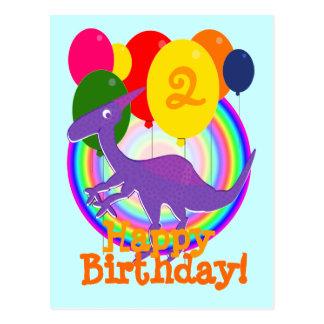 Alles Gute zum Geburtstag steigt lila Postkarte