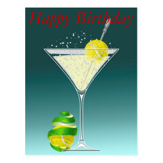 Alles Gute zum Geburtstag Tennis-Martinis Postkarte