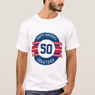 Alles Gute zum Geburtstag trägt Jersey-Streifen T-Shirt