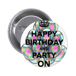 Alles Gute zum Geburtstag u. Party an Runder Button 5,7 Cm