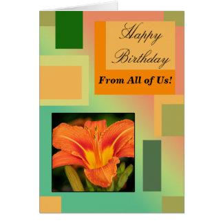 Alles Gute zum Geburtstag von allen uns, Pastelle Karte