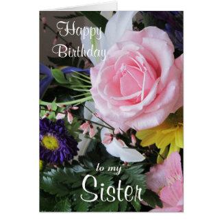 Alles Gute zum Geburtstag zu meinem Schwester-Rosa Grußkarte