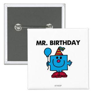 Alles- Gute zum Geburtstagballon Herr-Birthday | Quadratischer Button 5,1 Cm