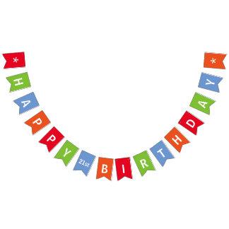 Alles- Gute zum Geburtstagbuntes personalisiertes Wimpelketten