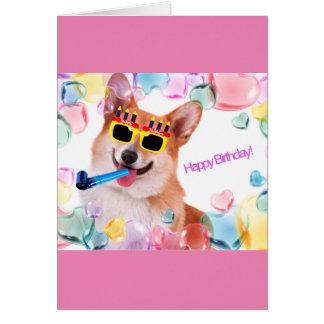 Alles Gute zum GeburtstagCorgi mit Gläsern für sie Grußkarte
