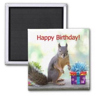 Alles- Gute zum Geburtstageichhörnchen Quadratischer Magnet