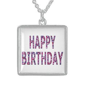 Alles- Gute zum Geburtstagfarbiges Chrom Halskette Mit Quadratischem Anhänger