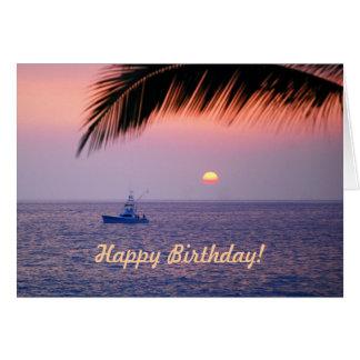 Alles- Gute zum GeburtstagFischerboot-tropische Grußkarte