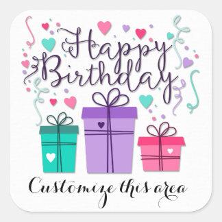 Alles- Gute zum GeburtstagGeschenkboxen auf Weiß Quadratischer Aufkleber