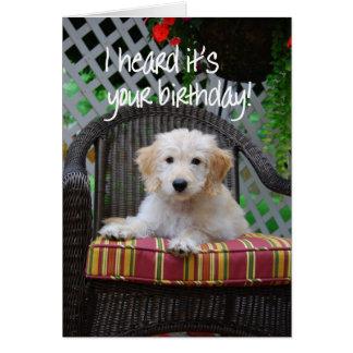 Alles- Gute zum Geburtstaggoldener Gekritzel-Welpe Grußkarte