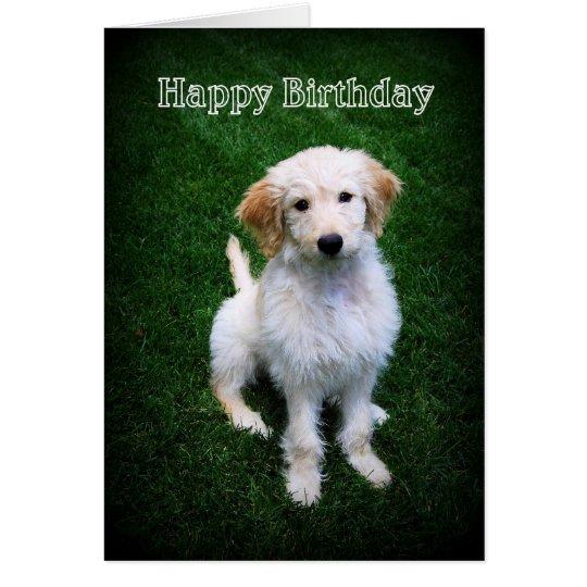 Alles- Gute zum Geburtstaggoldener Gekritzel-Welpe Karte