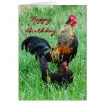 Alles- Gute zum Geburtstaghahn und Henne Karte