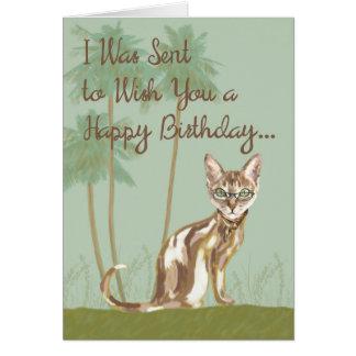 Alles- Gute zum Geburtstagkarte mit der Katze, Grußkarte