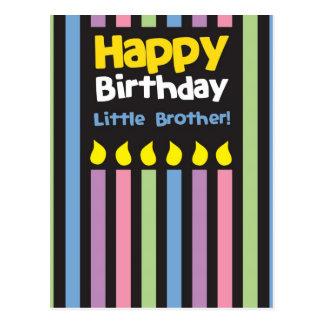 Alles- Gute zum Geburtstagkleiner Bruder stripey Postkarte