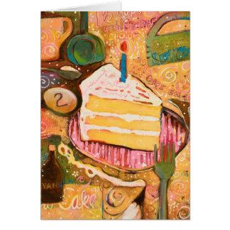 Alles- Gute zum Geburtstagkuchen gemalte Grußkarte