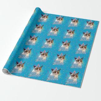 Alles- Gute zum Geburtstagmürrische Katze Einpackpapier