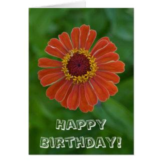 Alles Gute zum Geburtstagorange Zinnia-Blumenblüte Grußkarte