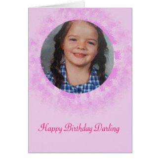 Alles- Gute zum Geburtstagrosa-Gewohnheits-Foto Grußkarte