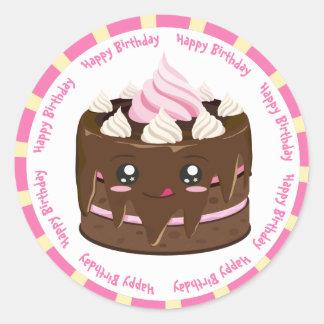 Alles Gute zum Geburtstagschokolade kawaii Kuchen Runder Aufkleber